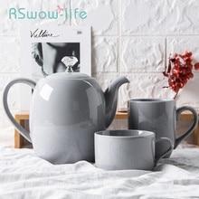 Light Gray Crystal Diamond Handle Ceramic Teapot Flower Tea pot Heat-resistant Juice Pot Jug Teteras De Coleccion Set