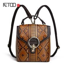 AETOO новый оригинальный рюкзак женщин простой личности искусство скраб ретро Корейский мини-мини сумка