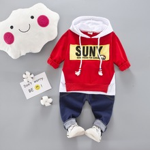 Kids Baby Boys/Girls Clothes Sets Autumn High Qulity letter T shirt+jeans pants 2pcs For Outfit Toddler Infant Children Suit