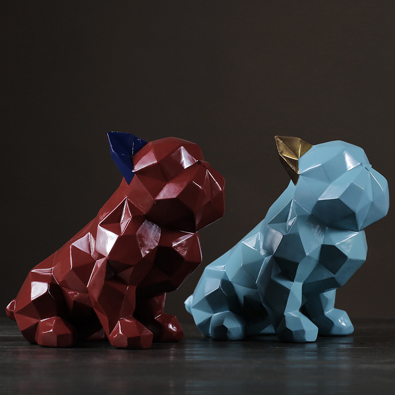 Geometric Bulldog Figurine Statue Cute Puppy Animal Art Sculpture Resin Craftwork Home Decoration Dog R507|Statues & Sculptures| |  - title=