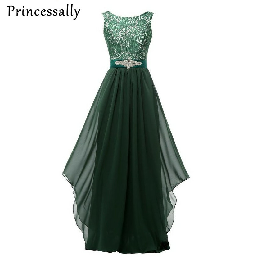 Emerald Green Lace Long Evening Dress Ruffles Crystal New
