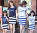 Free Shipping Family outfits Summer clothes ,Woman girls cotton set 2colors Family Love t shirt + Striped dress sets
