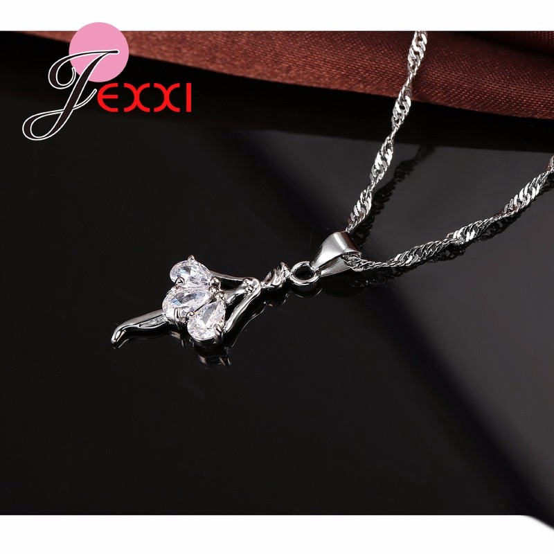 HTB1Nl3SJpXXXXc9XFXXq6xXFXXXu - Elegant 925 Sterling Silver Ballerina Necklace Earrings Set With Shiny Crystal Women Girls Wedding Engagement Jewelry Set