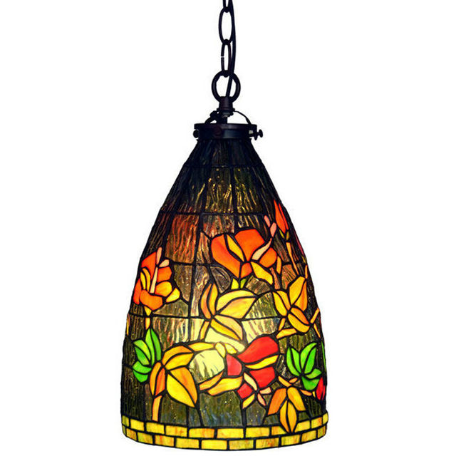 8 Inch Pendant Light Stained Glass Lamp Hanging Warm ShadeDining Room Lighting Free Shipping