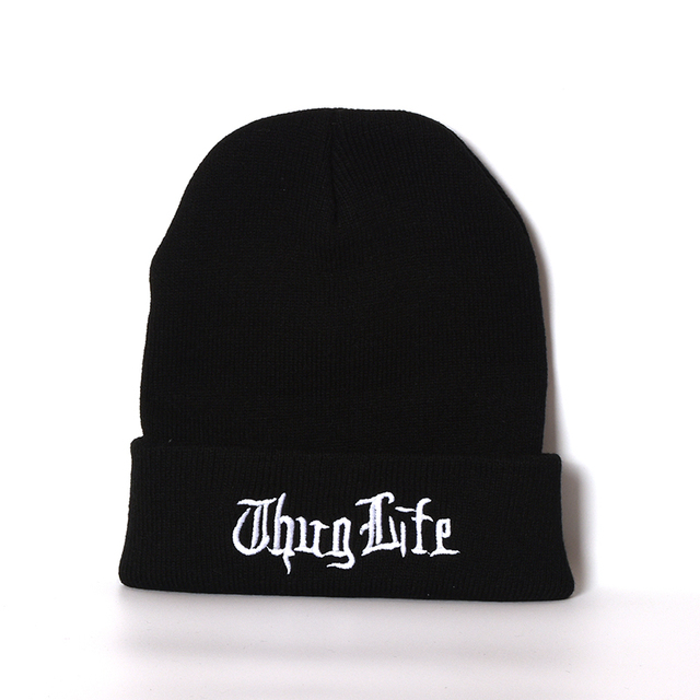66f02578a51 Thug Life STRANGER THINGS Black Knitted Cap Warm Autumn Winter Cap Ski Cap  for Men and Women Skullies