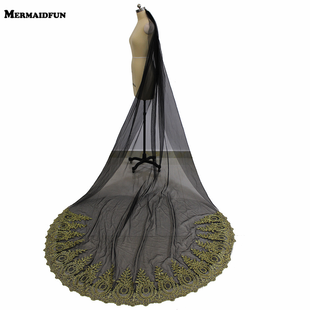 2019 New Gold Lace Black Tulle Long Wedding Veil One Tier 3 Meters Cathedral Bridal Veil with Comb Wedding Accessories