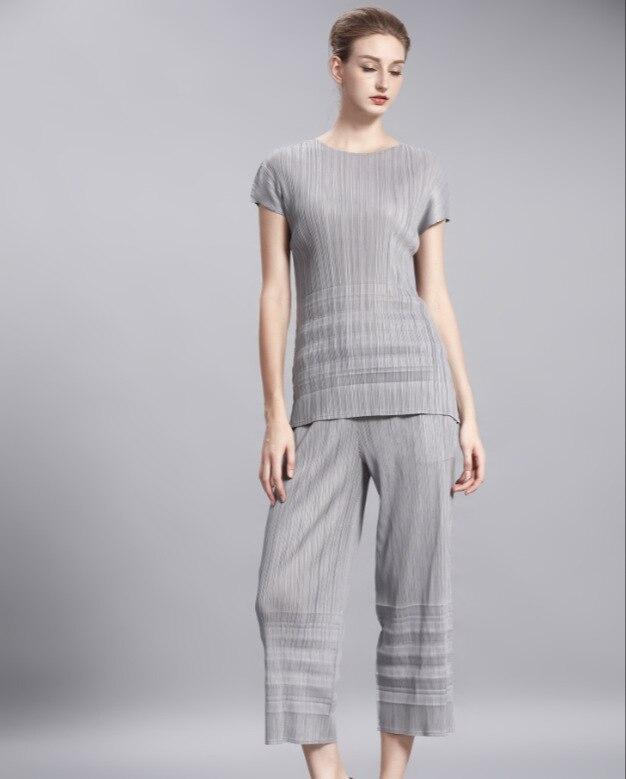 Mode T Courtes Auto Neuf Larges À Livraison Pliage Jambes shirt Pantalon guérison Couleur gris Points Gratuite Costume Manches Noir Plissée Pur znnqXI7