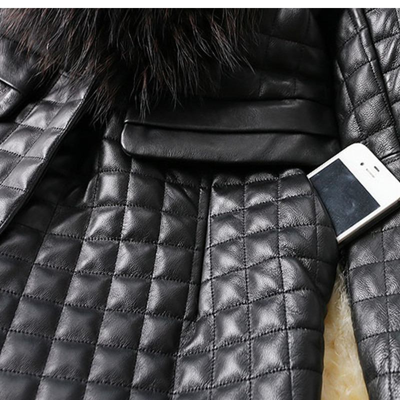 2018 women new Autumn and winter new imitation fur coat fox fur collar PU leather women 39 s long coat trench coat in Faux Fur from Women 39 s Clothing