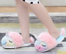 sunny everest unicorn slipper sweet horse close eyes smile winter warm shoes lovely house 28/32 35-39