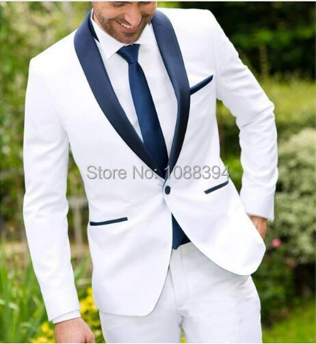 c7a7b8841632 2018 One Button White Best Man Wedding Groom Mens Tuxedos suits Navy Blue  Shawl Lapel Custom Made Business Slim Fit Mens Suit