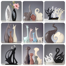 Simple Modern Ceramic Figurines Livingroom Ornament Home Fur