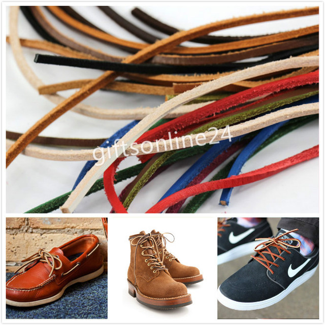 One Pair Genuine Rawhide Leather Shoe Hiking Boot Laces String Shoelace 917092e27872