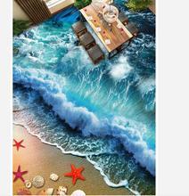 3d bathroom wallpaper waterproof Beach Wave Surf 3D Floor 3d floor painting wallpaper floor 3d wallpaper