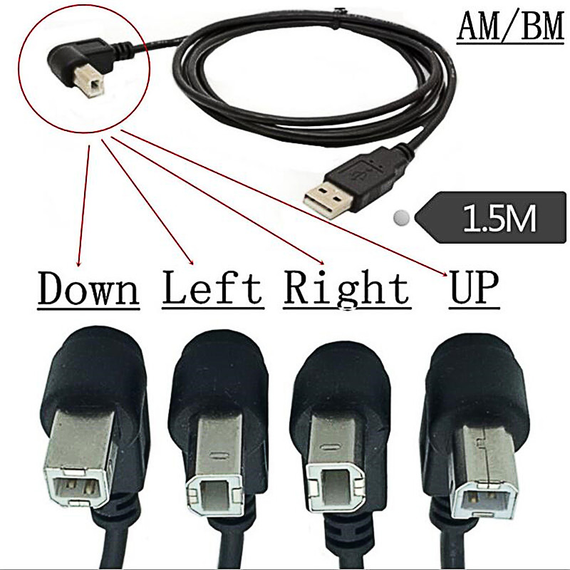 Left Angled USB 2.0 A Male to Angled B Male 90D Printer Scanner Cable 20cm