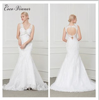 C.V Sexy Backless Fashion Mermaid Wedding Dress 2018 Lace Embroidery Appliques Pearl Sequin Beading Plus Size Wedding Gown W0003
