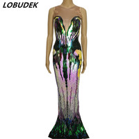 female costume multicolour Sequins one piece dresses sexy singer dancer nightclub Party costumes prom stage wears performance