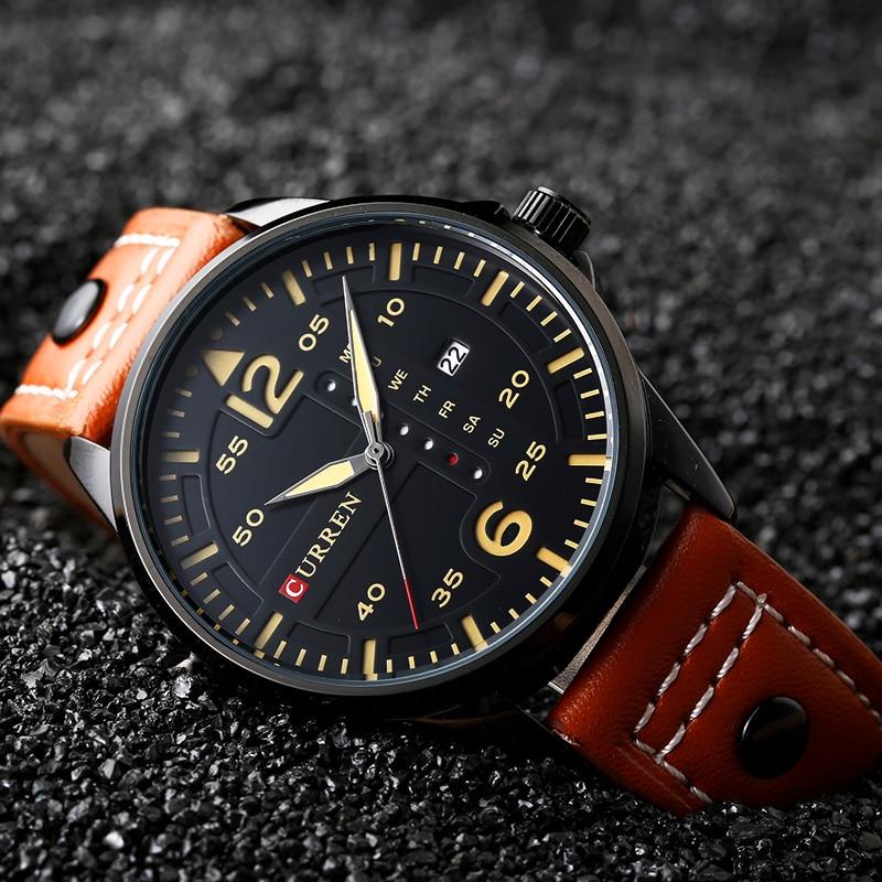 Prix pour Nouveau 2017 curren de luxe marque casual quartz montres hommes avec calendrier complet et semaine autour cadran coloré en cuir bande reloj