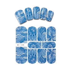 Nail Sticker WATER DECAL FLOWER BLUE FLOWER PATTERN BLACK TRIBAL TATTOO CAT KITTEN font b PUSSY