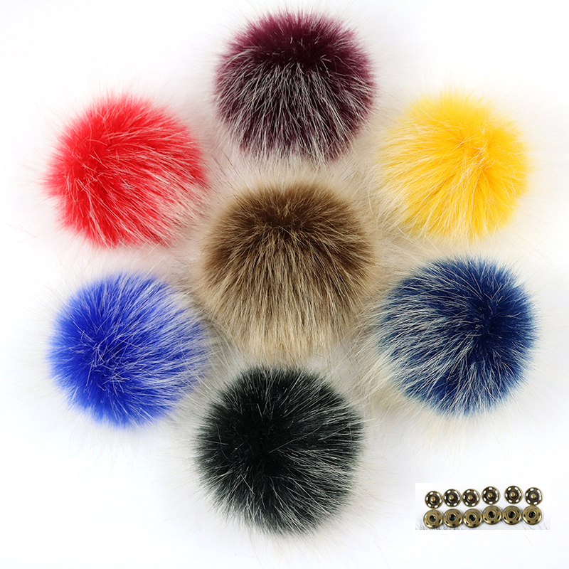 Factory Customization DIY 10cm Faux Fox Fur Pom Poms Frost White Hair Tip Pompon With Buckle Knitted Hat Accessories Pompom