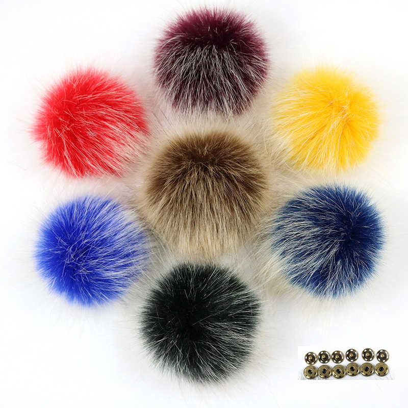 e084e08b15cd Factory customization DIY 10cm faux fox fur pom poms frost White Hair tip  pompon with Buckle