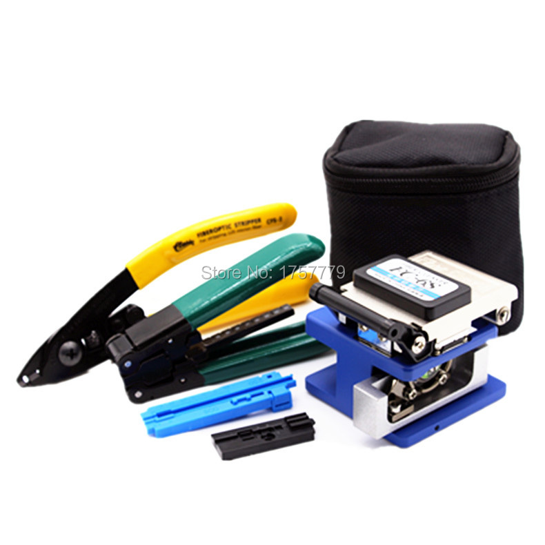 6 In 1 FTTH Fiber Optic Tool Kit with FC-6S Fiber Cleaver and CFS-2 miller stripper+ drop cable Wire stripper Use Ftth Fttx