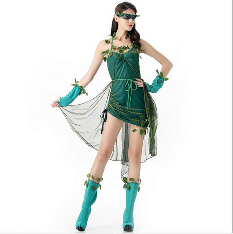 0005fc6f03b Halloween green Genie costumes for women elf TinkerBell Princess ...