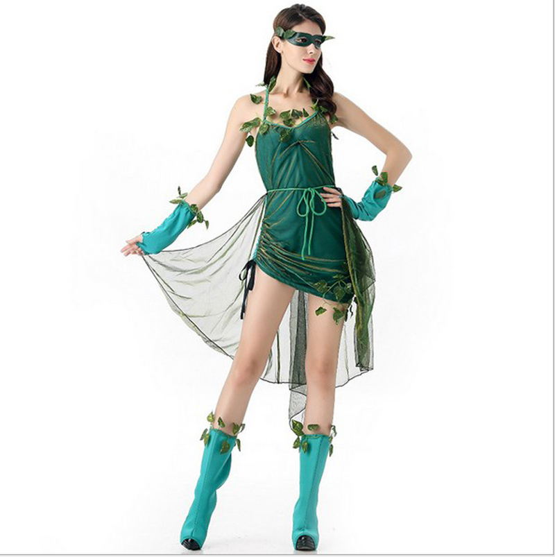 halloween green genie costumes for women elf tinkerbell princess dress elves skirt leaf fairy cosplay costume adult clothes in holidays costumes from
