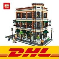2017 New LEPIN 15017 4616Pcs Creator Starbucks Cafe Bookstore Model Building Kits Blocks Bricks Fun Toys