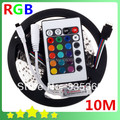 10M 2*5M RGB LED Strip 60leds/m 3528 SMD + 24 Key IR Remote Controller Free Battery RGB LED Strip Light Lamp 12V Free Shipping