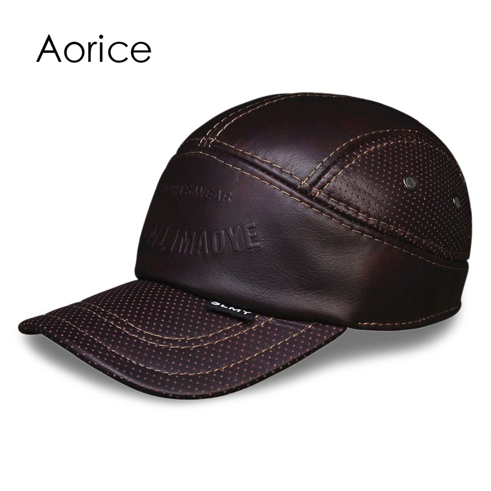 HL033 MEN'S genuine leather baseball cap hat  band new real leather warm caps hats anne klein часы anne klein 2238rgst коллекция daily