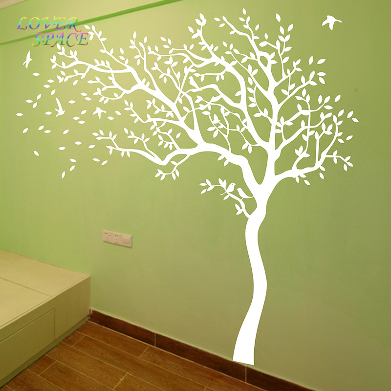 LOVE SPACE HOT Huge Tree Wall Sticker White Tree Wall Decals Nursery Tree  Wall Stickers For Kids Rooms 218X210CM In Wall Stickers From Home U0026 Garden  On ...