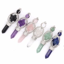 Kraft-beads Vintage Silver Plated Amethysts Energy Symbol Sceptre Pendant With Round Beads Rose Pink Quartz Jewelry