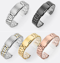 Men&Women Soild Stainless Steel Watch Bracelet Watchband 16mm 18mm 20mm 22mm 24mm With Smooth Head Different Colors free shippi