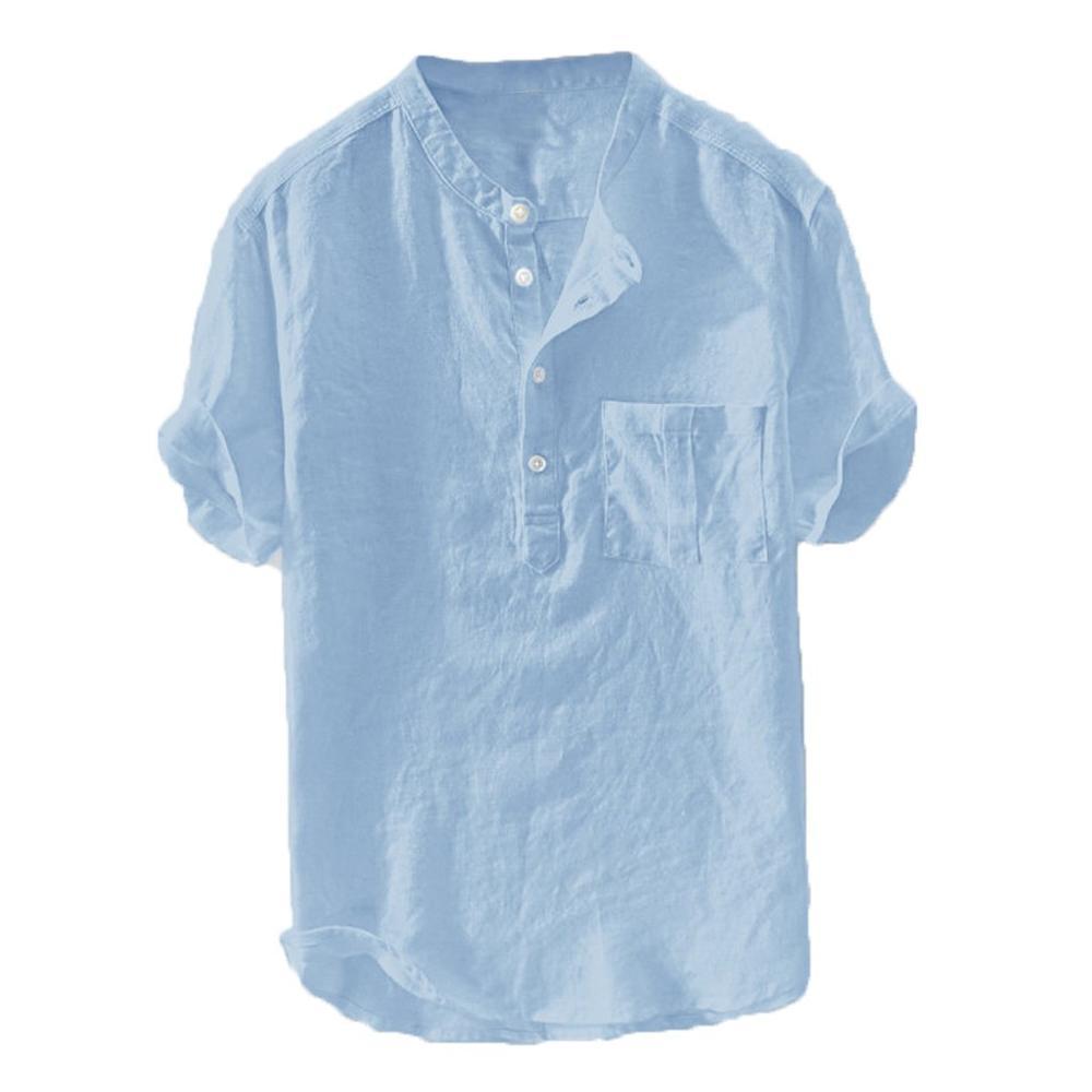 New Style Shirt Summer Men Blouse Cotton Linen Solid Color Short Sleeve Button Comfortable Sport Shirts Chemise Homme Plus Size