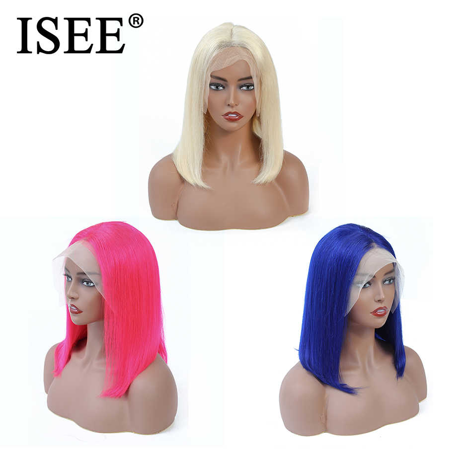 613 прямой парик розовый/синий 13X4 Короткие Синтетические волосы на кружеве человеческих волос парики для чернокожих Для женщин 150% малайзийские волосы Remy, блонд, Синтетические волосы на кружеве парик