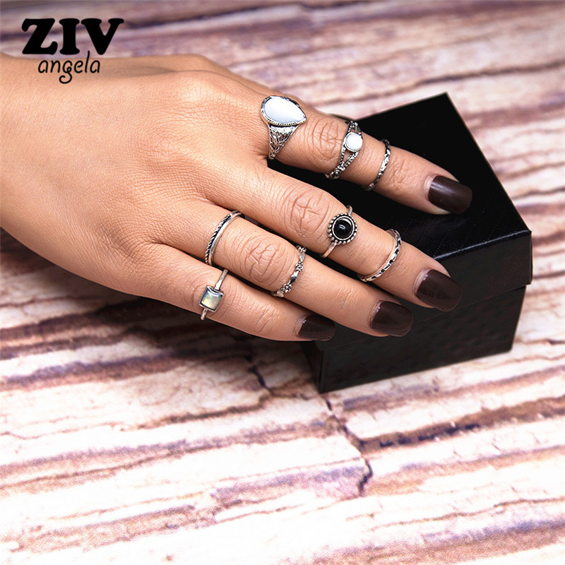 ZIVangela 8Pcs/Set Antique Silver Color Bohemian Midi Ring Set Vintage Steampunk Anillos Knuckle Rings For Women Boho Jewelry