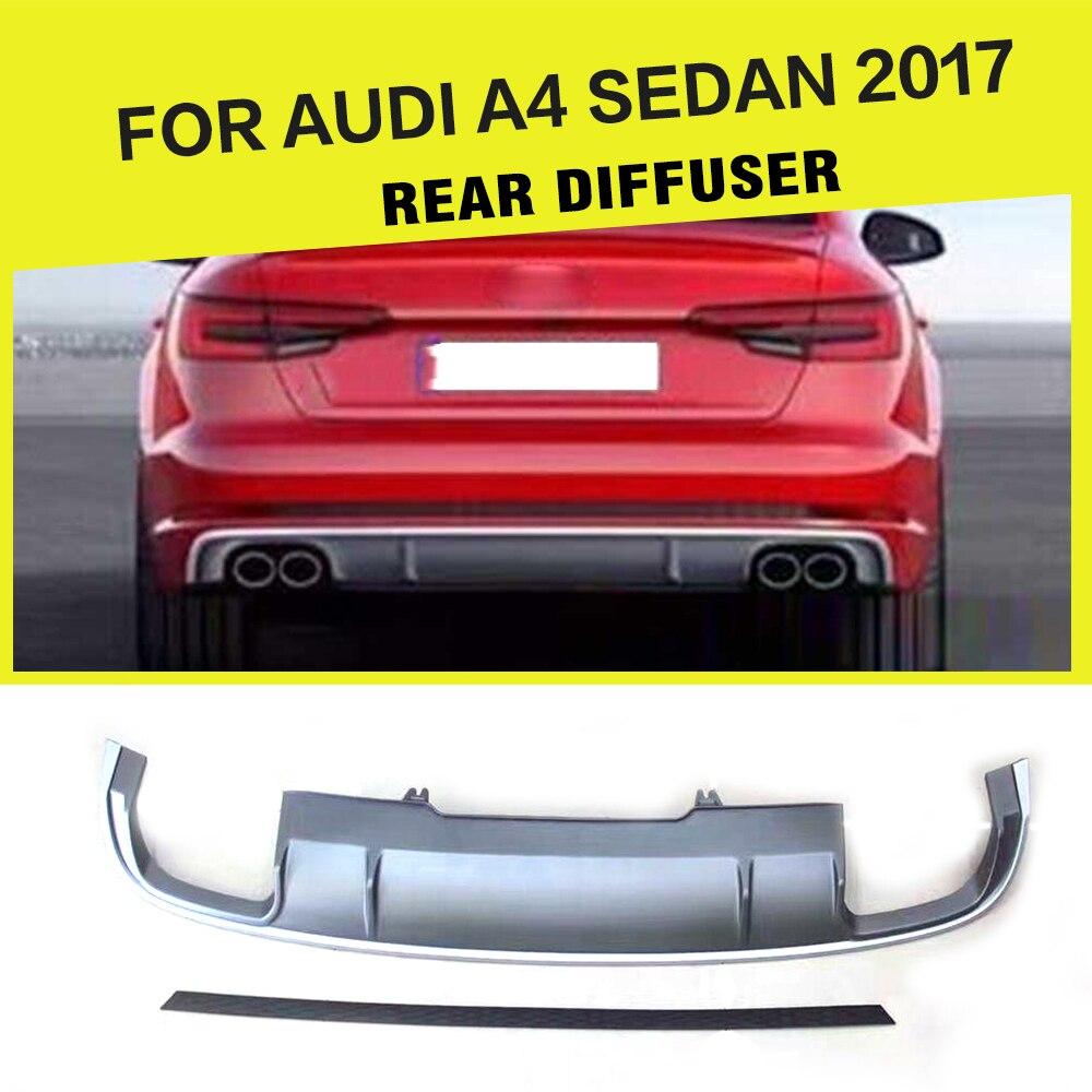 Car-Styling PP Auto Rear Diffuser Lip Spoiler for Audi A4 Sedan Standard Bumper Only 2017