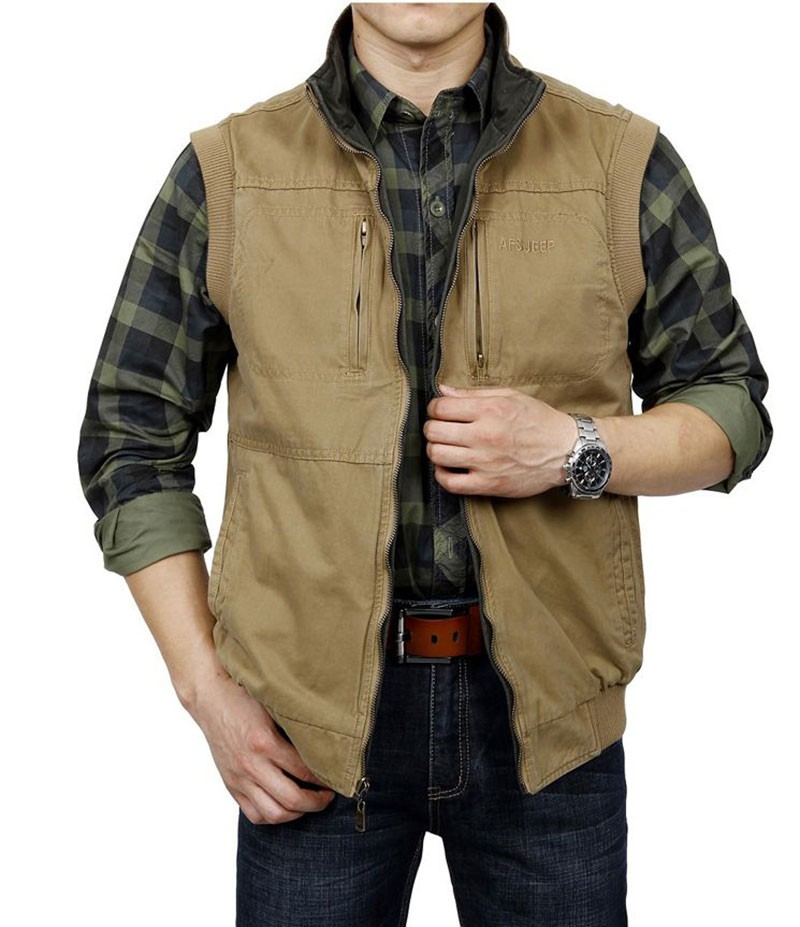M~3XL 2015 Autumn Spring Reversible Casual Men Vest Coat AFS JEEP Cotton Pocket Cargo Outdoor Sleeveless Jackets Waistcoat Vests (20)