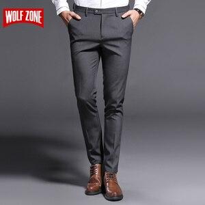 Image 1 - 2018 ใหม่ Slim Fit กางเกงชายยืดกางเกงผู้ชาย Summer คุณภาพสูง Classic Casual เสื้อผ้าอย่างเป็นทางการตรงชุดยาวกางเกง