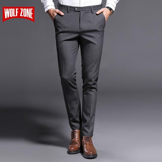 2018 ใหม่ Slim Fit กางเกงชายยืดกางเกงผู้ชาย Summer คุณภาพสูง Classic Casual เสื้อผ้าอย่างเป็นทางการตรงชุดยาวกางเกง