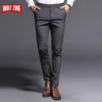 ef21bf6ea8 2018 nuevos pantalones ajustados para hombre Pantalones elásticos Sunmmer  de alta calidad ropa Casual clásica Formal trajes rectos pantalones largos