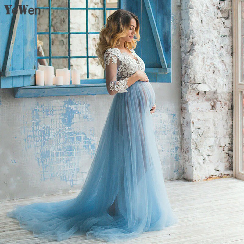 Lace Formal Pregnant Photo dress Long Sleeve See Through Blue Prom Evening Dresses Custom Size Plus Size 2018 Evening Dress(China)