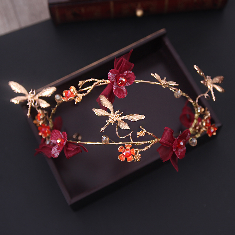 MANMIIKorean bride headdress retro red flowers gold hair hoop headdress wedding crown hair ornaments dress accessoriesAQ2276