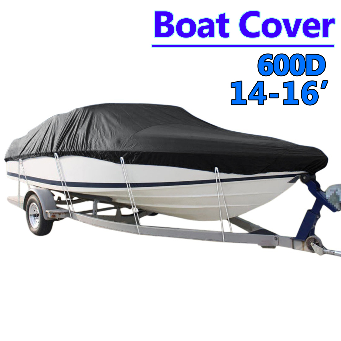 Heavy Duty 14-16ft 600D Beam 90inch Trailerable Marine Grade Boat Cover Outdoor Yacht Boat Suit Waterproof UV Protected Black black heavy duty 14 16ft 600d beam 90inch trailerable marine grade boat cover for yacht boat waterproof anti uv boat accessories