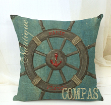 Linen Mediterranean Marine life Furnishing Navy blue Sea Anchors Rudder Pillow Case Pillow Cushion Nautical
