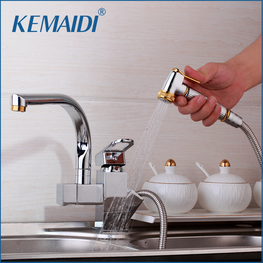 KEMAIDI Solid Brass Kitchen Mixer Gold Polished Hot &Cold Kitchen Tap Single Hole Water Tap Kitchen Faucet torneira cozinhaKEMAIDI Solid Brass Kitchen Mixer Gold Polished Hot &Cold Kitchen Tap Single Hole Water Tap Kitchen Faucet torneira cozinha