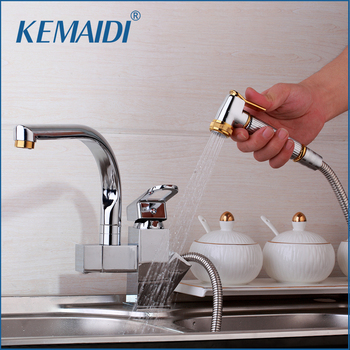 KEMAIDI Solid Brass Kitchen Mixer Gold Polished Hot &Cold Kitchen Tap Single Hole Water Tap Kitchen Faucet torneira cozinha