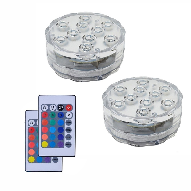 2 Pack Led Submersible Swimming Pool Light IR Remote 10 LED RGB Waterproof Battery (Not Included) Underwater Light Luces Piscina