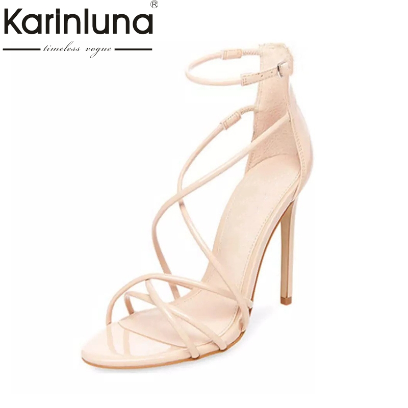 KarinLuna 2018 Brand Shoes Women big Size 33-43 Summer Woman Shoes Sandal sexy Thin High Heels Party gladiator Sandals