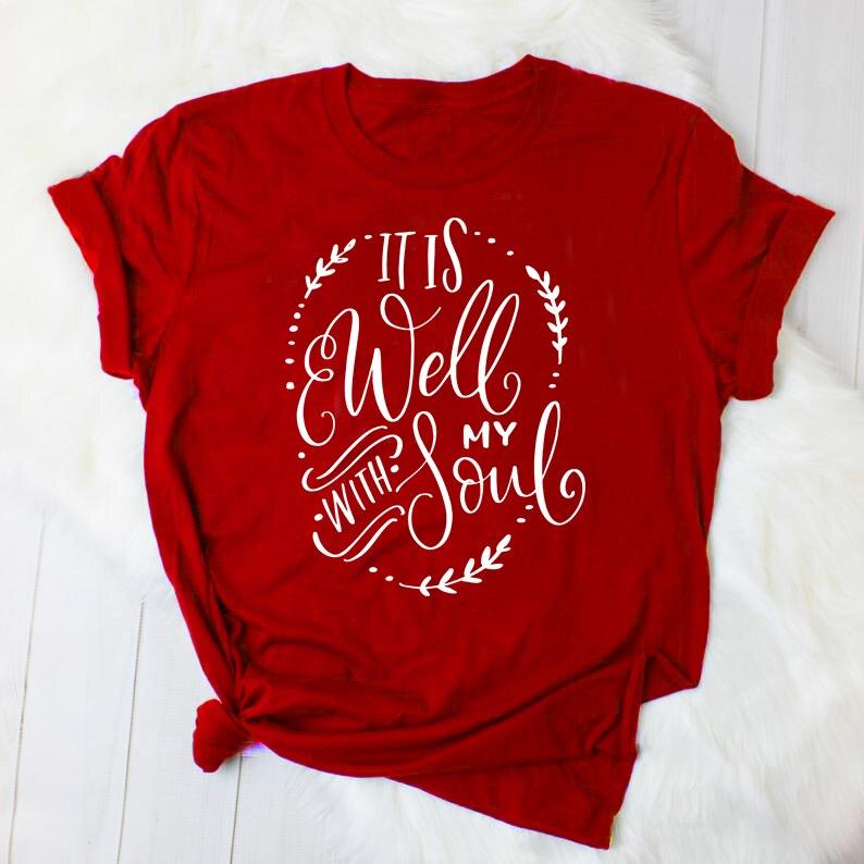 Está bien con mi alma camiseta cristiana Casual elegante camiseta religiosa verano algodón Vintage ropa Biblia verso Camisetas Tops